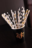 Graduation Party Ideas.  Handcrafted in 1-3 Business Days.  Paper Straws. Stars and Striped Staws 25CT.  Gold and Silver Party Decor.