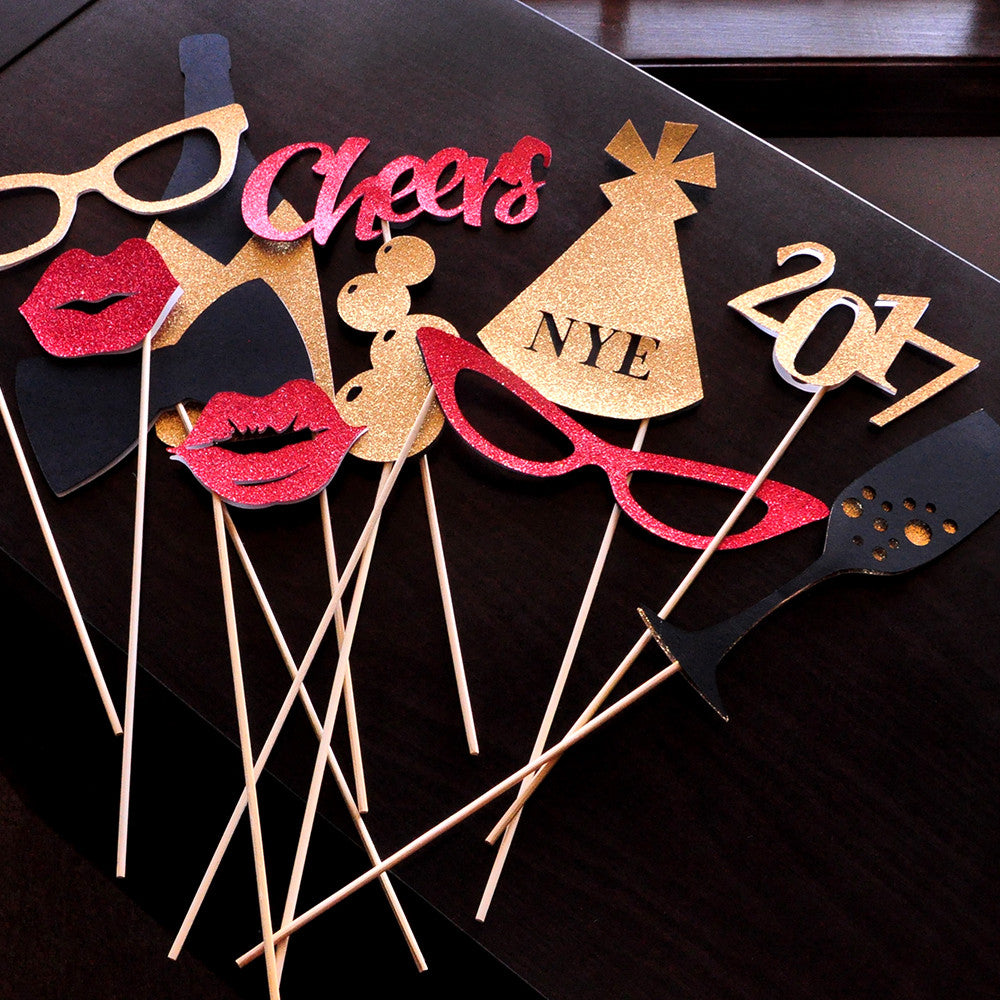 New Years Eve Photo Booth Props. Ships in 1-3 business days. Set of 11 Props.  New Years Eve Decorations 2017.
