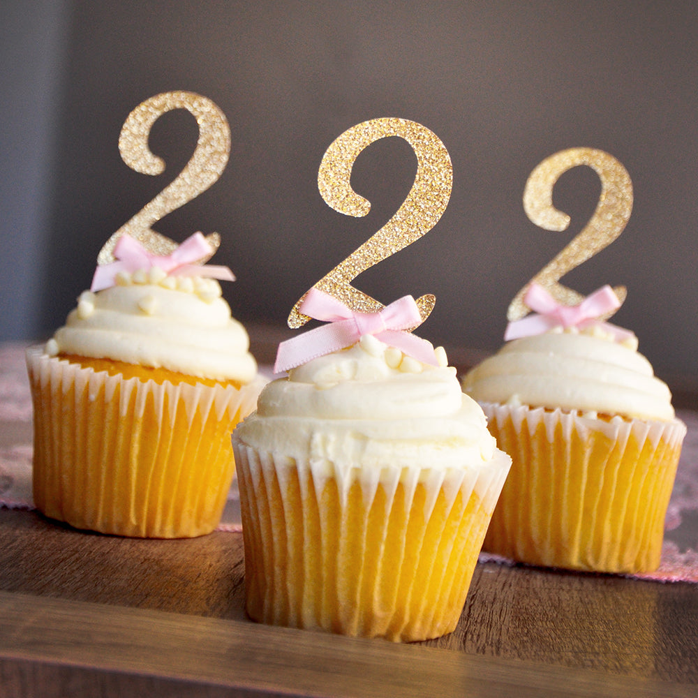 Pink and Gold Birthday Decorations.  Ships in 1-3 Business Days.  Glitter Gold Number Cupcake Toppers.  Set of 12.