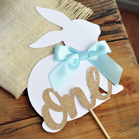 Peter Rabbit Cake Topper for 1st Birthday. Spring Boy First Birthday Ideas. Bunny One Cake Topper.