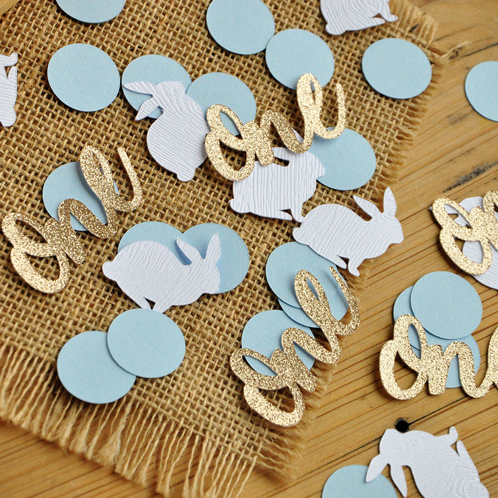 Peter Rabbit Confetti. Baby Blue Bunny Party Decor. Bunny and One Confetti with Blue Circles.