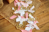 Some Bunny is One Confetti. Bunny First Birthday Party Decorations. Pink and Gold Bunny and One Confetti.