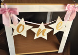 Twinkle Twinkle Little Star First Birthday. One Highchair Banner. Ships in 1-3 Business Days. Pink and Gold Birthday Party Decorations.