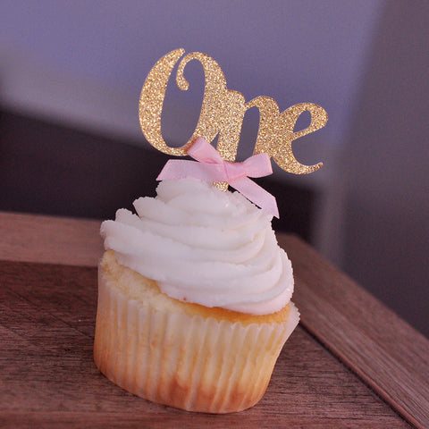 One Cupcake Toppers with Baby Pink Bows 12CT. Ships in 1-3 Business Days. Gold First Birthday Decorations.