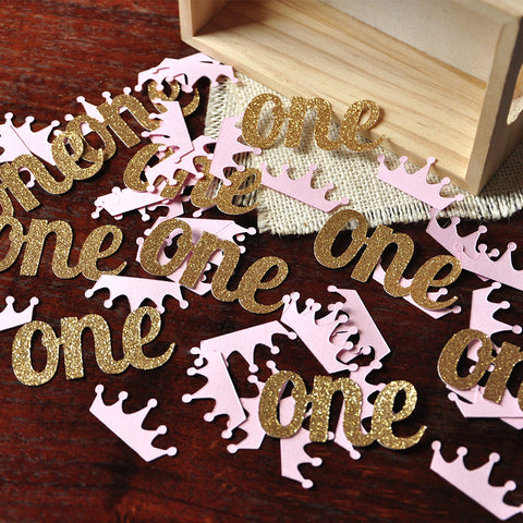 "Pink and Gold 1st Birthday Party Decorations. Ships in 1-3 Business Days. Princess Party Confetti. ""One"" and Crowns Confetti Mix."
