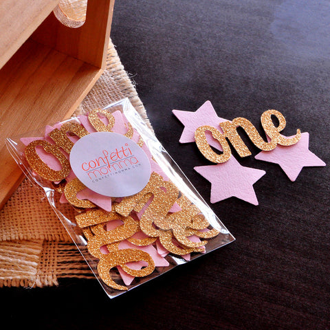 "Pink and Gold Party Decorations.  Handcrafted in 1-3 Business Days. Twinkle Twinkle Little Star. Star Confetti with ""One"" Cutouts 50CT."