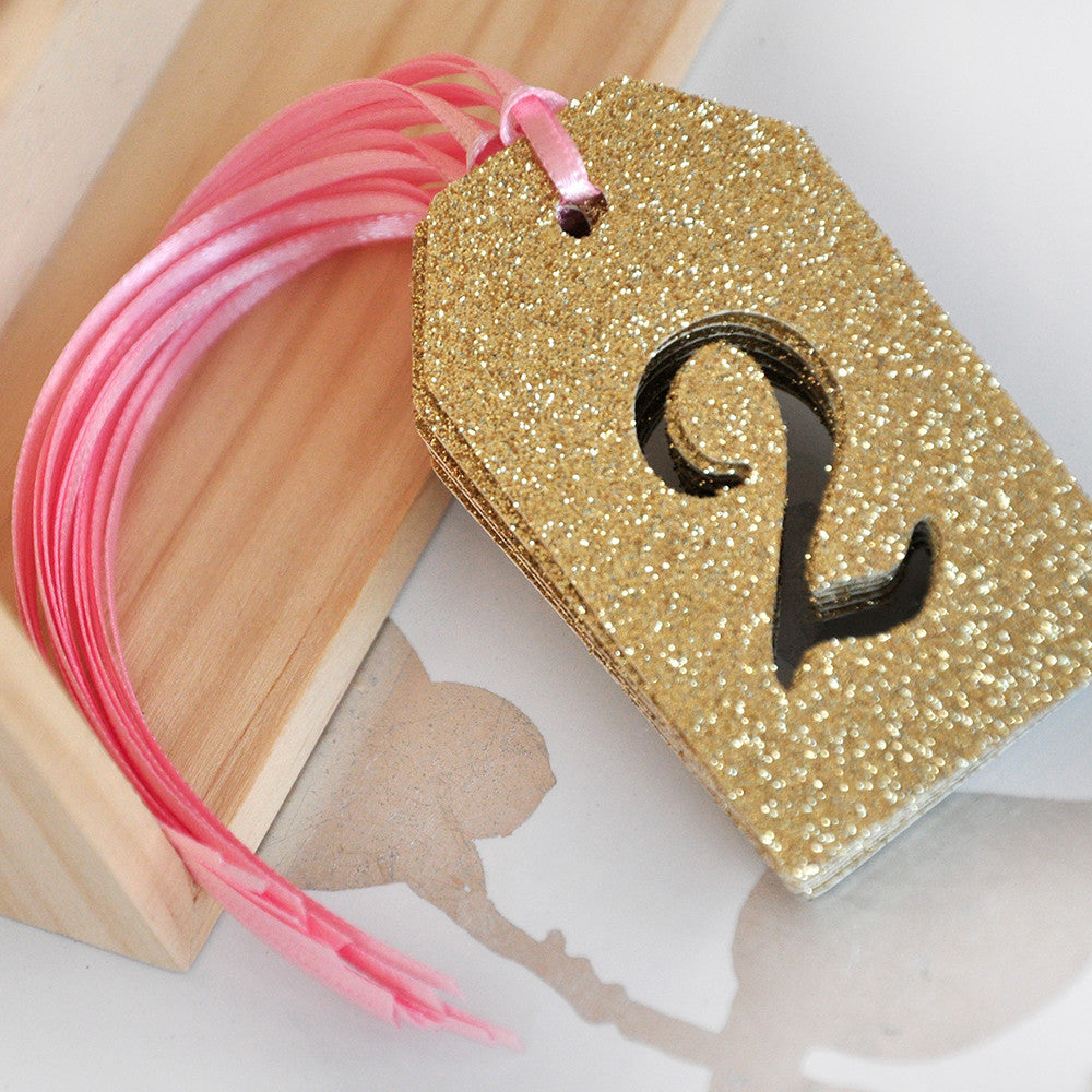 Pink and Gold Birthday Party Decorations.  Ships in 1-3 Business Days.  Party Favor Tags with Number Cutout (10 Pack).