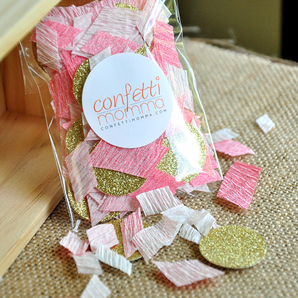 Pink and Gold Glitter Confetti.  Ships in 1-3 Business Days.  1st Birthday Table Confetti.