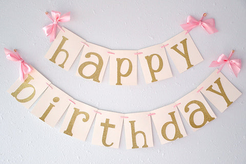 Pink and Gold Birthday Party Decorarations.  Ships in 1-3 Business Days.  Glitter Gold Happy Birthday Banner.