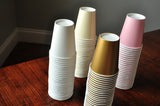 Paper Party Cups for a Pink and Gold Party. Ships in 1-3 Business Days. Set of 12 or More Cups in Baby Pink, Ivory, White and Gold.