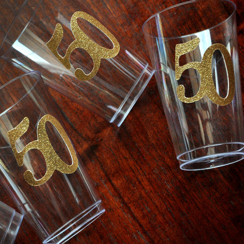 50th Birthday Party Cups.  Ships in 1-3 Business Days.  Set of 10 Party Cups.