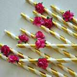 Tropical Paper Straws. Handmade in 1-3 Business Days . Party Straws with Flowers. 10CT.