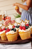 4th of July Cupcake Toppers. (1 Set of 12 Toppers). Made in 1-3 Business Days. Patriotic Party. Star Cupcake Toppers. Memorial Day Cupcake Toppers.