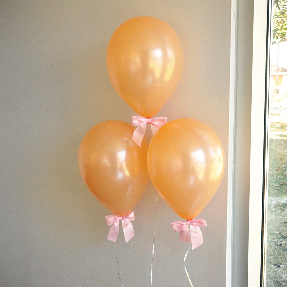 Some Bunny is One Party Decorations. Peach balloons with Pink Bows 8CT + Curling Ribbon. Spring Baby Shower.