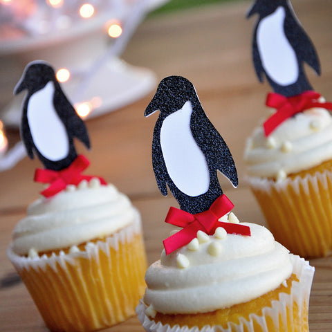 Penguin Cupcake Toppers.  Ships in 1-3 Business Days.  Winter Wonderland Party Decorations.