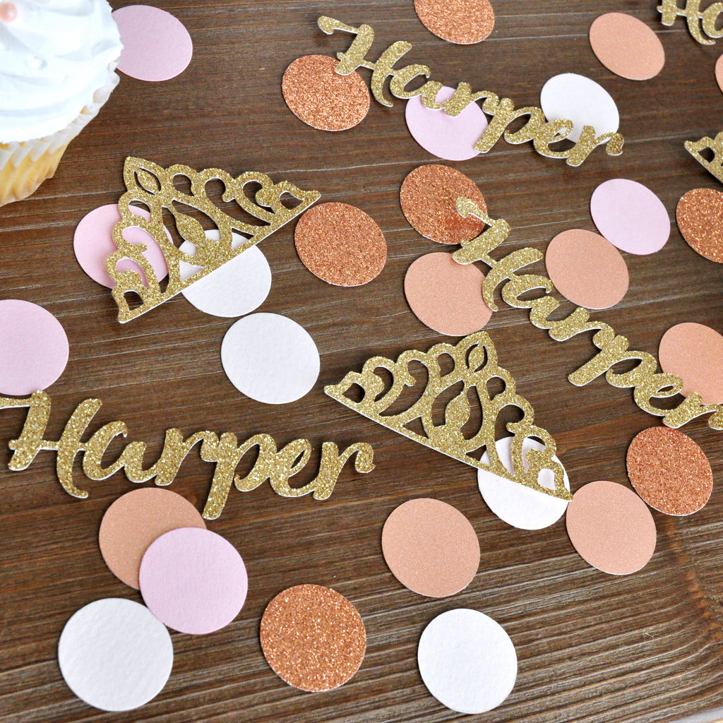 Personalize Pink and Gold Name Confetti. 50CT. Pink and Gold Party Decor. Princess Birthday Custom Confetti.