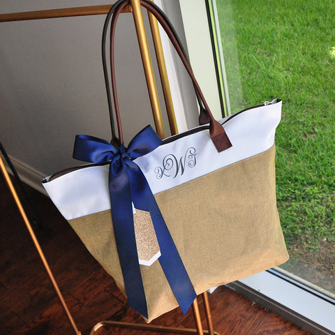 Personalize Tote Bag for Bridesmaids (Qty. 1). Monogram Tote Bag with Zipper. Camel Bridesmaid Gift Bag. CmlRT.