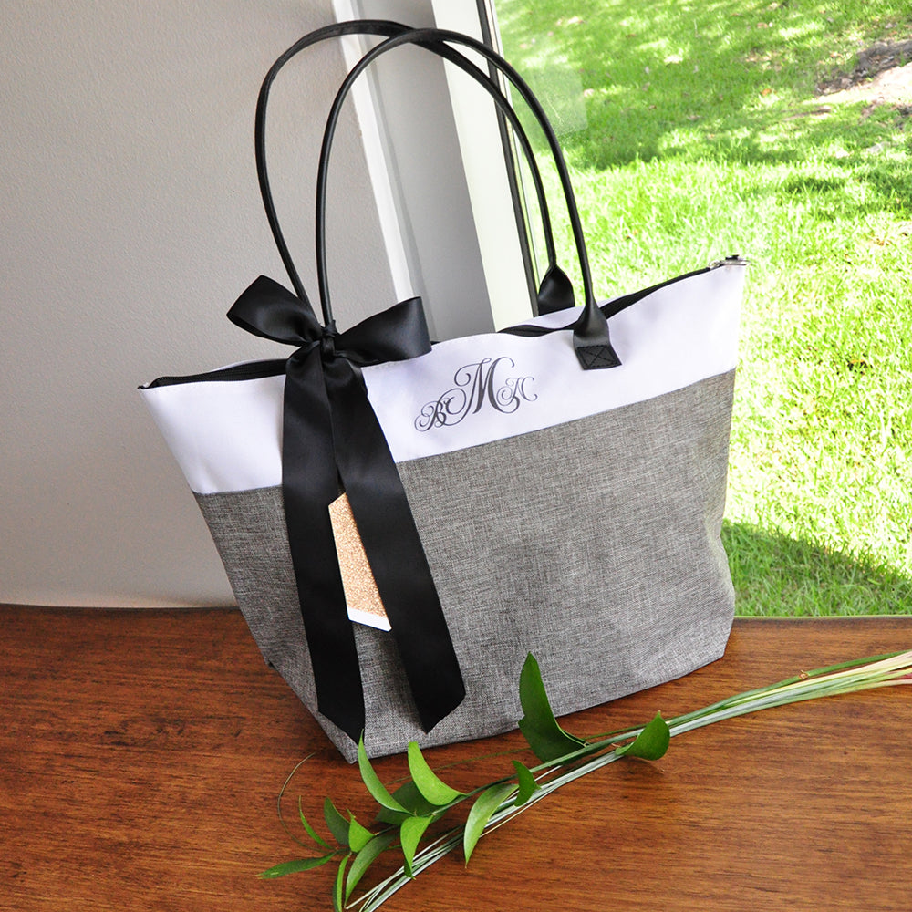 Personalize Tote Bag for Bridesmaids (Qty. 1). Monogram Tote Bag with Zipper. Gray Bridesmaid Gift Bag. GRTBlH
