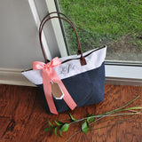 Personalize Tote Bag for Bridesmaids (Qty. 1). Monogram Tote Bag with Zipper. Navy Bridesmaid Gift Bag. NRT.