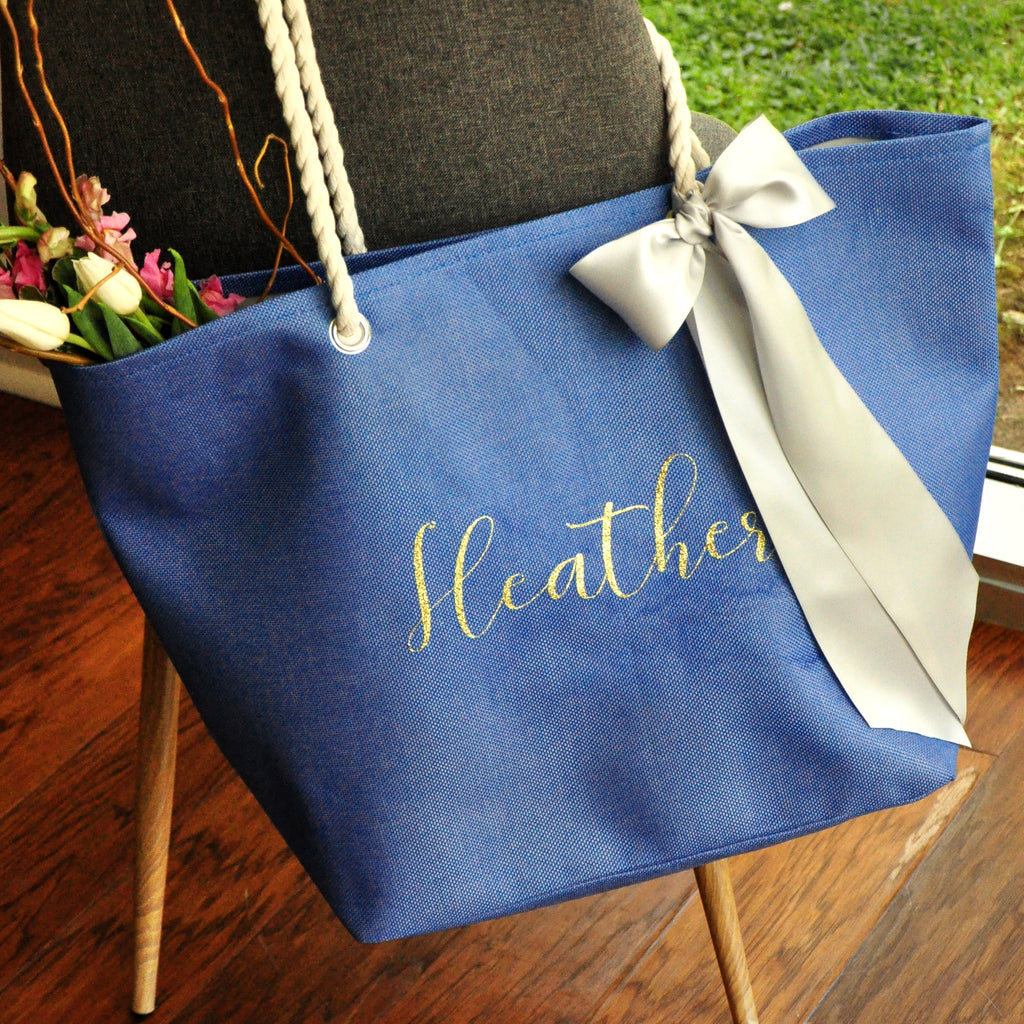 Beach Wedding Gift Bag Ideas: Personalized Bridesmaid Beach Tote Bag. (Qty. 1