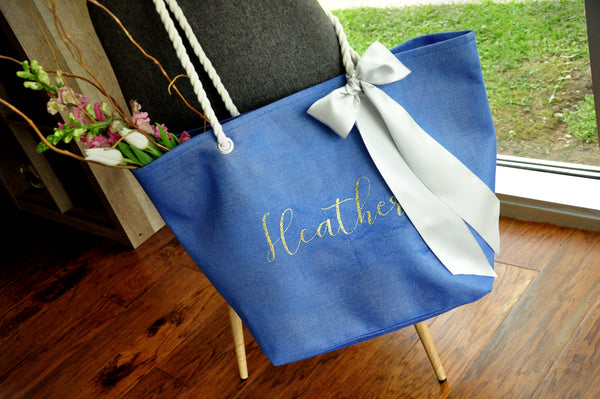 Beach Wedding Gift Bags: Personalized Bridesmaid Beach Tote Bag. (Qty. 1