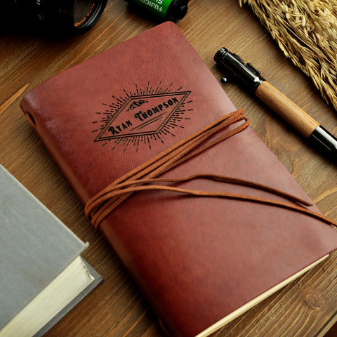 Personalized Journal for Men. (Qty. 1) Vegan Leather Field Notes Journal. Journal Personalized for Men. Gifts for Men. DB20LJ