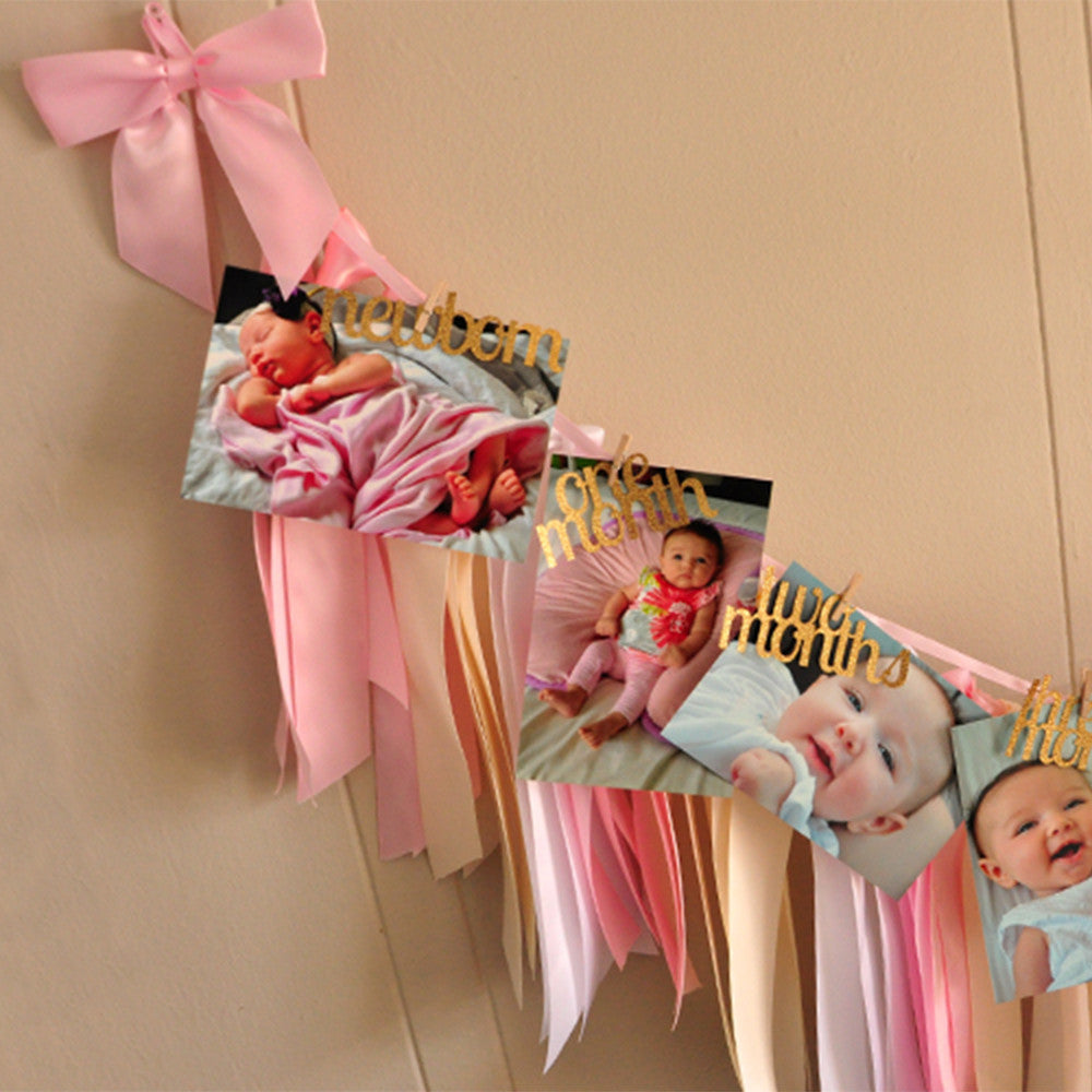 Monthly Photo Banner & Ribbon Garland Set. Ships in 1-3 Business Days. Pink and Gold 1st Birthday. First Birthday Photo and Ribbon Garland.