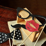Photo Booth Props for a Birthday Party. Ships in 1-3 Business Days. Set of 4 Props. Glasses, Mustache, Lips, Bowtie.