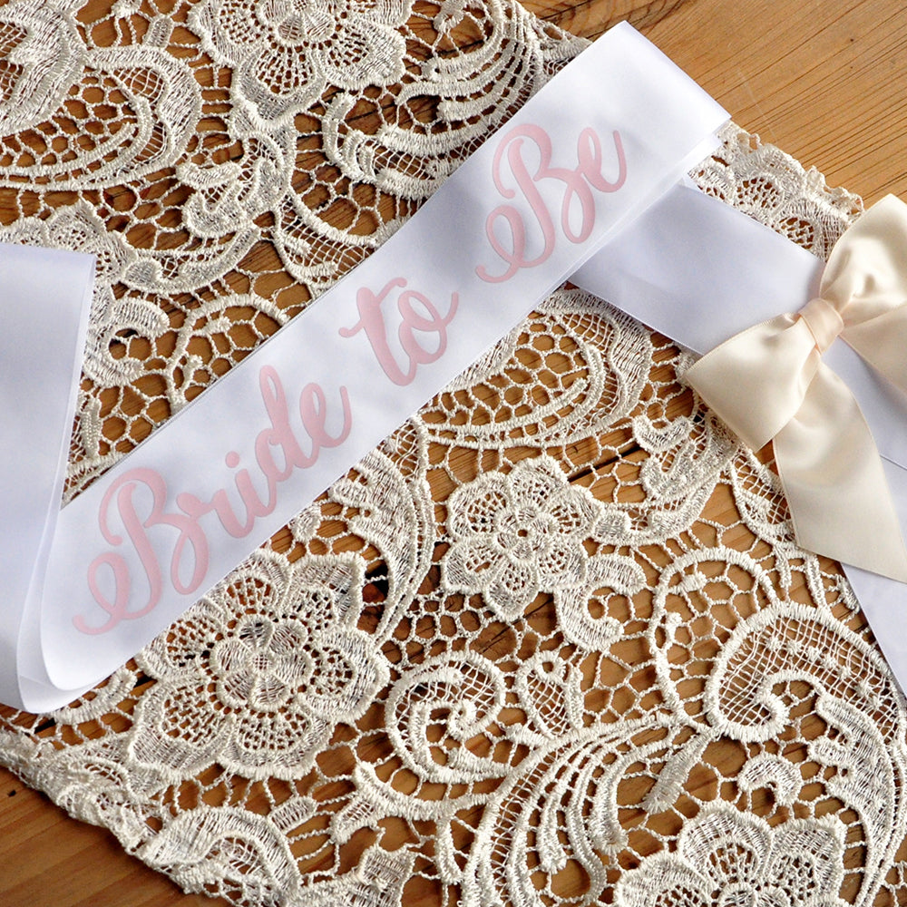Bridal Shower Bride to Be Sash. Bachelorette Party Ideas. White Bridal Sash with Ivory Bow.