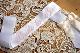 Bridal Shower Bride to Be Sash. Made in 1-3 Business Days. Bachelorette Party Ideas. White Bridal Sash with Ivory Bow.