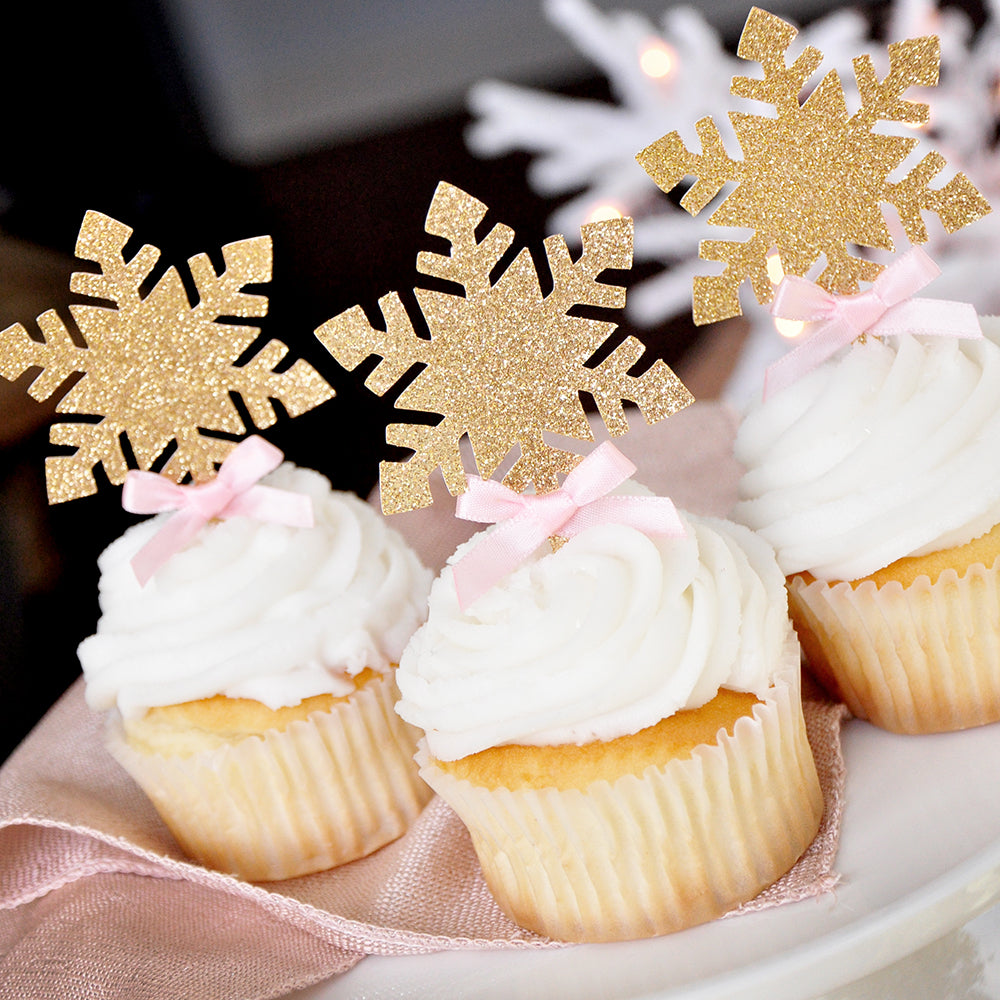 Winter Onederland Snowflake Cupcake Toppers 12CT. Ships in 1-3 Business Days. Glitter Gold Snowflake Toppers.