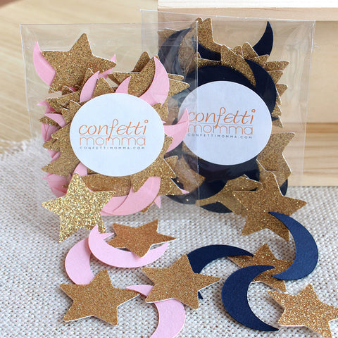 Twinkle Twinkle Little Star Party Decoration.  Ships in 1-3 Business Days.  Moon and Stars Confetti 50CT Pack.