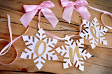 Winter Onederland Snowflake Highchair Banner in Pink and Gold. Handcrafted in 1-3 Business Days. One High Chair Banner.