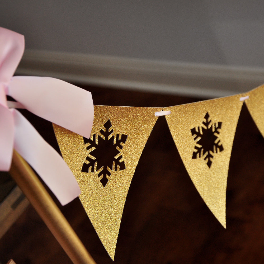Pink and Gold Winter Onederland Backdrop Bunting Banner. Made in 1-3 Business Days. Snowflake Bunting Banner. Winter Onederland 1CT.