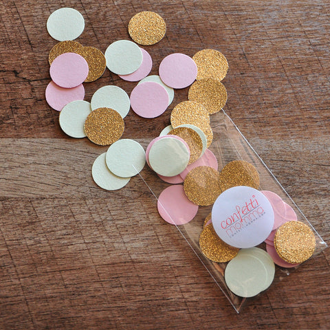 Mint Pink And Gold Confetti Circles 1 50CT Ships In 3