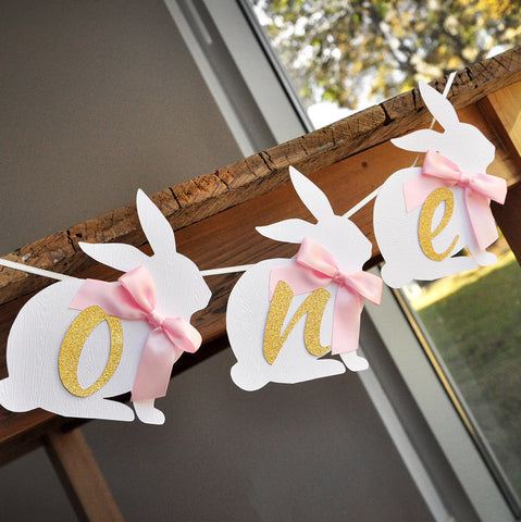 Some Bunny is One Highchair Banner. One Bunny Banner. Pink and Gold First Birthday Party Decorations.