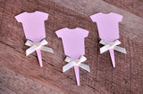 Baby Girl Shower Cupcake Toppers 12CT.  Ships in 1-3 Business Days.  Pink Onesie Cupcake Picks.