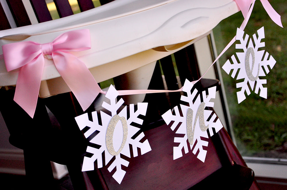 Winter Onederland Snowflake Highchair Banner in Pink and Silver. Handcrafted in 1-3 Business Days. One High Chair Banner.