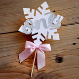 Pink and Silver Winter Onederland Cake Topper. Handcrafted in 1-3 Business Days. Snowflake Cake Decoration. 1st Birthday Decorations.