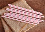 Pink Straws 10CT. Ships in 1-3 Business Days. Paper Straws. Pink and Gold First Birthday. Pink Striped Straws.