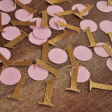 Pink and Gold Birthday Party Decorations.  Ships in 1-3 Business Days.  Mini Number 1 Confetti 50CT.