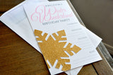 Pink and Gold Blank Winter Wonderland Invitations and Envelopes. Set of 5. Ships in 1-3 Business Days. Premium Printed Wording and No-Shed, Real Glitter Snowflake Embellished Invites with White Easy-Seal Envelopes Included.