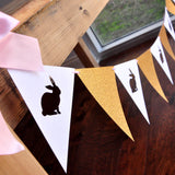 Some Bunny is One Backdrop Bunting Banner. Pink and Gold Bunny Bunting Banner. Individual 6.5 foot strand.