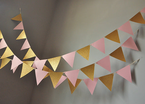 Bunting Banner For Pink And Gold Party Decor Ships In 1 3