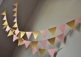 Bunting Banner for Pink and Gold Party Decor. Ships in 1-3 Business Days. Pennant Banner. Photo Backdrop.