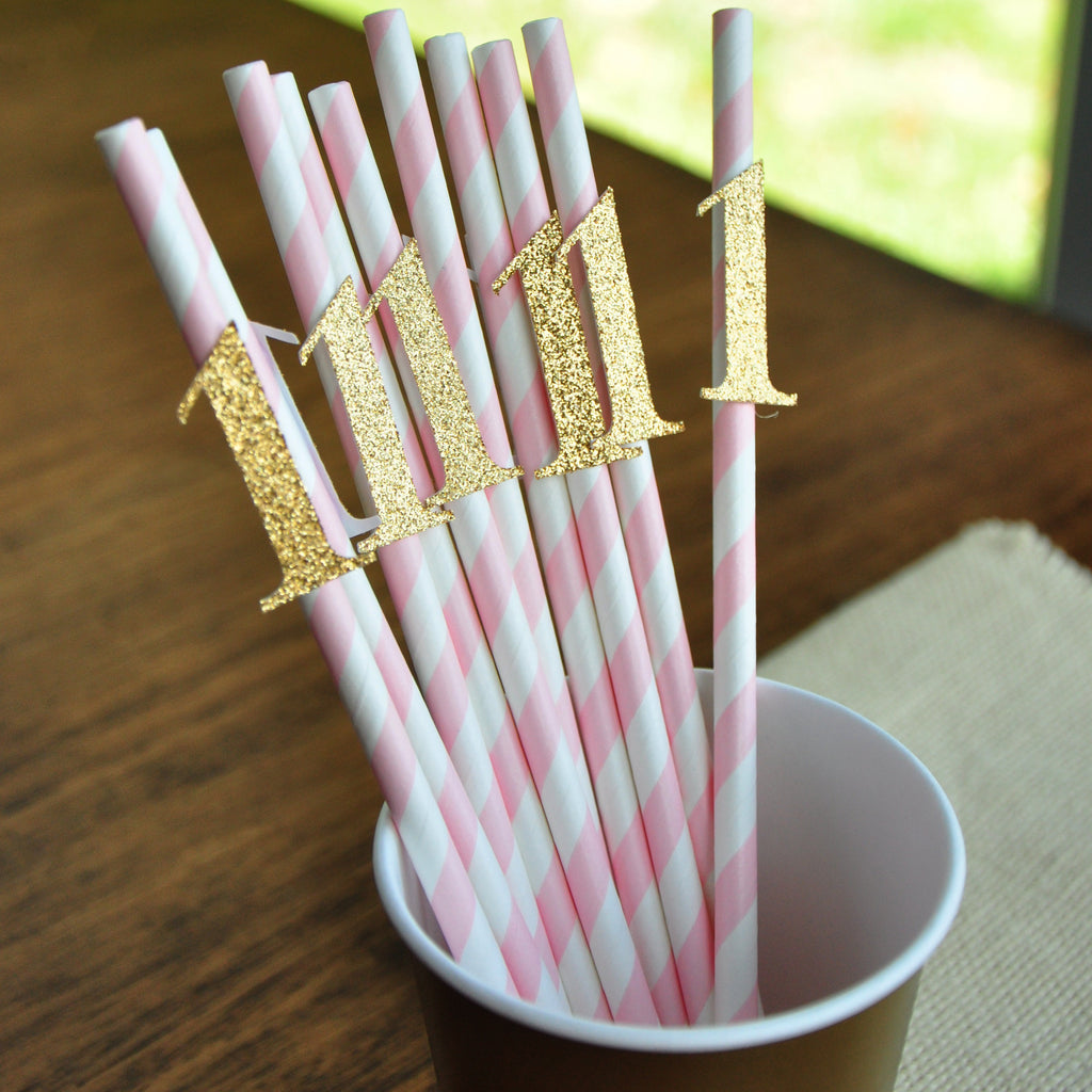 Pink and Gold First Birthday. First Birthday Party Straws. Ships in 1-3 Business Days. First Birthday Girl Paper Straws. 10CT.