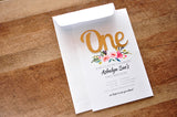 1st Birthday Invitations Pink and Gold with Envelopes. We Print, Cut, Glue and Ship to You in 1-3 Business Days.