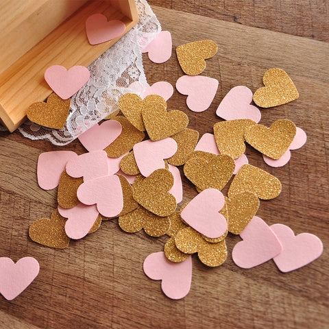 Pink and Gold Party Decorations. Ships in 1-3 Business Days. Pink and Gold Heart Confetti 50CT.