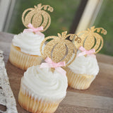 Pink and Gold First Birthday. Our Little Pumpkin is Turning One. Handcrafted in 1-3 Business Days. Pumpkin Cupcake Toppers. Set of 12.