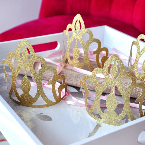 Pink and Gold Birthday Party Decoration.  Ships in 1-3 Business Days. Crowns as Party Favors.